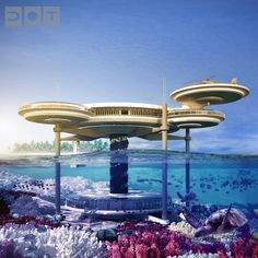 Deep Ocean Technology comes to life in the shape of this magnificent Water Discus Hotel proposed to be constructed in Dubai shortly. The structure would comprise of one underwater and one above-water disc, connected by three solid legs that are fixed to the sea bed, and a daylight filled vertical shaft containing a lift and stairway.