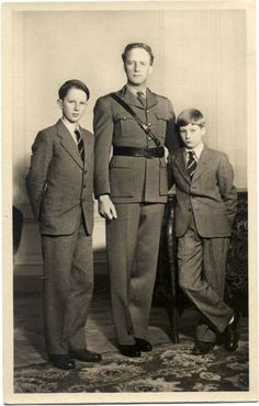 King Leopold III of the Belgians with his two sons, both future Kings of the Belgians, Prince Baudouin, Duke of Brabant and Prince Albert of Belgium, Prince of Liège.