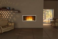 Neat twist on a fireplace, also love the lighting effect in the corner of the room