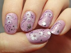 Ida-Marian kynnet / Violet polish with glitter, water decals and matte top coat / #Nails #Nailart