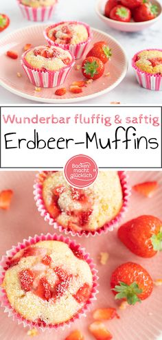 """These delicious little strawberry muffins are a special alternative to normal strawberry cake. The """"extraordinary"""" thing about strawberry muffins is that the fruits are baked with them. White Chocolate Muffins, Chocolate Blanco, Baking Chocolate, Chocolate Chocolate, Strawberry Muffins, Strawberry Cakes, Almond Cakes, Food Cakes, Savoury Cake"""
