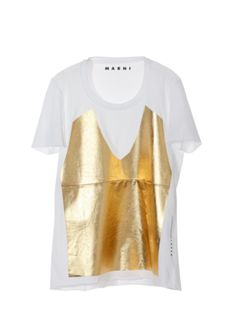 // Marni kind of a cute t shirt. just gold and white and to the point. gold white, that its a tshirt andn i loue the design on this shirt and would loue to see more on this kind of uibe like a pianted picture of an avant shirt on a shirt.