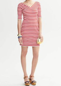 BANANA REPUBLIC WOMEN'S STRIPE PONTE KNIT V-NECK DRESS $110.00 NEW 8  #BananaRepublic #Sheath #Casual