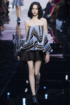 Strapless Swirl Design Top with a Short Black Skirt by Armani Privé Spring 2016 Couture Fashion Show