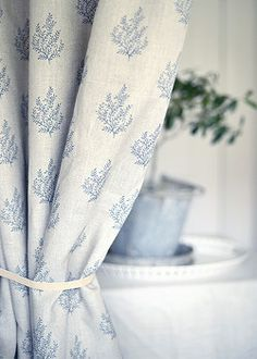 Olivia - by Peony & Sage. Particularly gorgeous for relaxed curtains in a kitchen. Available from Victoria Clark Interiors.