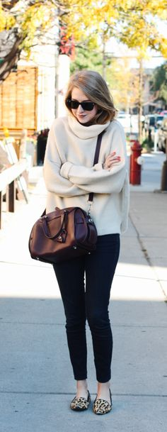 Cozy sweater and leopard flats