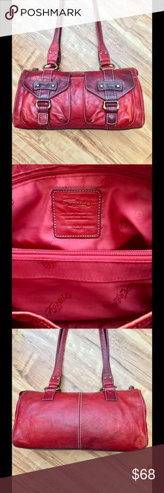 """Fossil purse Fossil Red Leather Shoulder PursePREOWNED!ZB 9623 measurements 12"""" inches across 7"""" inches down strap drop 12"""" inches approximately! Interior no rips, stain or tearsExterior does have discoloration! Fossil Bags Shoulder Bags"""