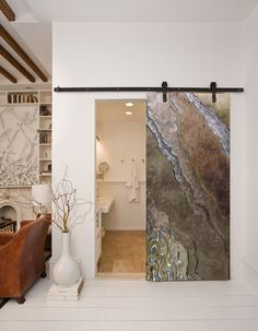 Platinum Glass Sliding Barn Door | This glass was sand-carved, painted and inlaid with silver metal leafing.