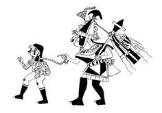 Dibujo estilo Línea Fina de guerrero y eventual víctima de sacrifi cio. Archivo Moche. ucla. Dibujado por Donna McClelland. Cultura moche o mochica   Sexualidades prehispánicas