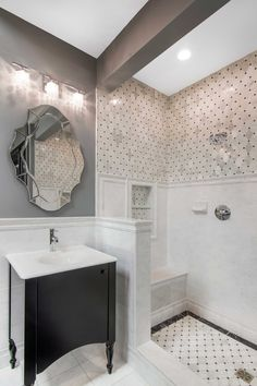 Traditional and modern look with classic bathroom tile - Carrara Gris Ceramic Wall Tile https://www.tileshop.com/product/485576-P.do