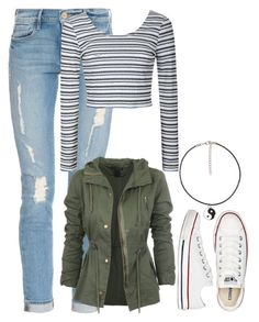 """#ootd Vacation Day3"" by alyssaguizar ❤ liked on Polyvore featuring Frame Denim, Converse and Ally Fashion"