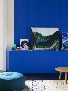 The Design Files Open House MELBOURNE location!  Paint colour – Mondrian Blue by Dulux, Small portrait and large landscape painting by Sally...