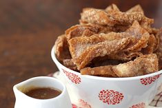 Churro wontons with salted butter caramel dipping sauce, from La Fuji Mama.