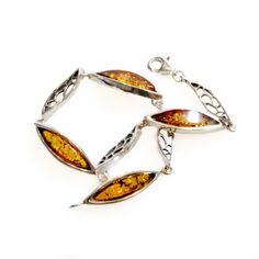 Bracelet d'ambre miel et argent 925/1000 - Bijoux d'Ambre