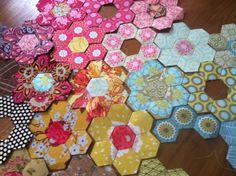 hexagon quilt, grandma garden