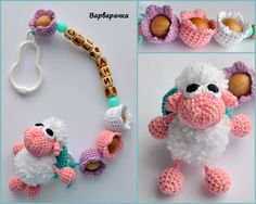 Personalized pacifier holder baby name by ForYourHappyBaby on Etsy Love Crochet, Bead Crochet, Crochet Toys, Crochet Baby, Crochet Necklace, Crochet Pacifier Holder, Amigurumi Patterns, First Birthday Gifts Girl, Baby Toys