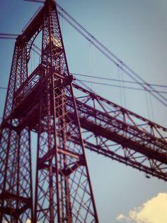 The Vizcaya Bridge is the oldest hanging bridge still working. In the Unesco Heritage site list since 2006. Getxo. Spain.