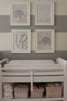 I love the idea of grey and white stripes for a baby's room... It allows for gender neutrality and growth with the child!