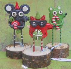 Red Bandit Fox with present Christmas Folk Art by indigotwin, $25.00