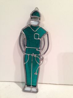 Hanging Stain Glass Surgeon Doctor Figurine Christmas Or Window Ornament
