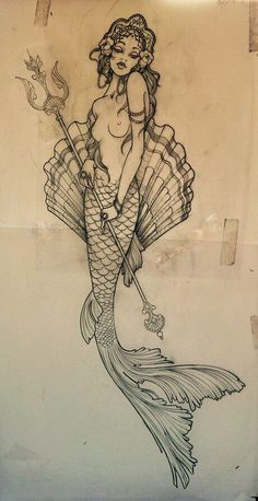 I've never felt the need for a mermaid tattoo but I love this one Future Tattoos, New Tattoos, Cool Tattoos, Tatoos, Kunst Tattoos, Tattoo Drawings, Sirene Tattoo, Tattoo Painting, Tattoo Bein