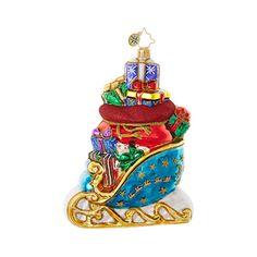 Christopher Radko Ornaments | Radko Sleighs Blue Sleigh Bounty 1018909
