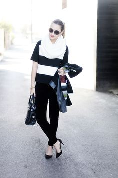skinnies-c/o 7fam, top-Zara, jacket-Maje, scarf-Zara, bag-c/o Milly, sunglasses- House of Harlow, bracelets- Madewell, Giles & Brother, rings-Madewell, c/o Roman Luxe