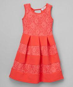 Another great find on #zulily! Dark Coral Pleated Skater Dress - Girls & Tween #zulilyfinds