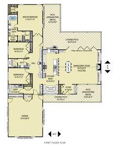 Ranch Style House Plan - 3 Beds 2 Baths 2599 Sq/Ft Plan #436-1 Floor Plan - Main Floor Plan - Houseplans.com