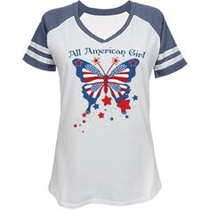 All American Girl Butterfly V-Neck Tee All American Girl, Red White Blue, V Neck Tee, I Shop, Beautiful Women, Butterfly, Tees, Mens Tops, Shopping