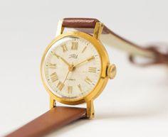 Gold plated women's watch Zarja retro wristwatch by SovietEra, $63.00