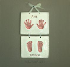 Child Hand Print and Foot Print Art Ceramic by TheBabyHandprintCo