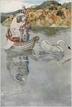 The tale of Lohengrin, knight of the swan. Illustrator Willy Pogány.