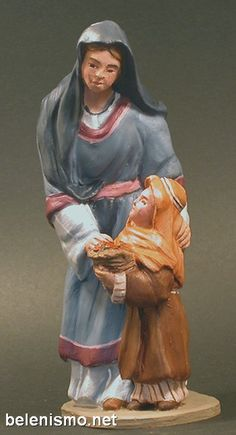 Pastora de camino con niña
