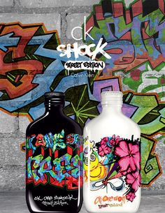 Calvin Klein's ck one Shock street edition bottles by famous graffiti artists Fabel and for her and for him Mojito, Famous Graffiti Artists, Best Fragrance For Men, Calvin Klein One, Perfume Packaging, Neon Painting, Ck One, Graffiti Designs, Communication Design