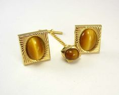 Vintage Faux Tiger Eye Cufflinks Swank Bonus by NeatstuffAntiques, $60.00