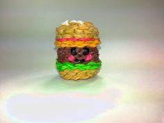 3-D Happy Hamburger Tutorial (Rainbow Loom) by Feelin' Spiffy. cuteee