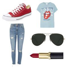 """Untitled #7"" by cserebecca ❤ liked on Polyvore featuring MadeWorn, River Island, Converse and Ray-Ban"