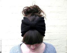 black hair bow head band