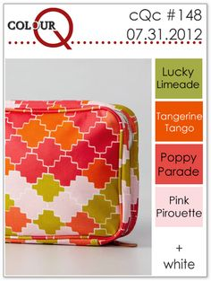 ColorQ challenge ... cAc #148 ... orange, rose, olive, pink and white ... inspiration phot of graphic tile design on a case ...
