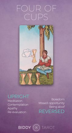 Four of Cups Meaning - Get the full description on biddytarot.com four of cups meaning, four of cups tarot card, four of cups tarot card, 4 of cups