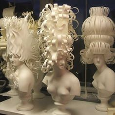 Pulp Fictions: Handmade French paper is twisted and turned into French wigs fit for Maria Antoinette and the ladies of her court.  Photo: Katherine Knauer