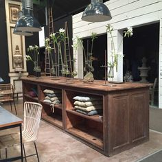 industrial wooden shop island