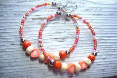 Orange Memory Wire Hoop Earrings Summer & by KidsAtHeartBeadShop