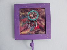 Dream Catcher - Needlefelt Picture Set in Purple Wooden Frame with Metal Hook by ThePaintingTree on Etsy