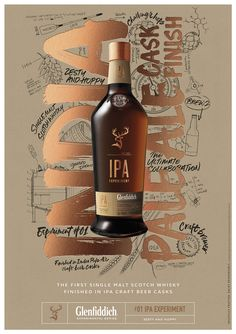 """Purple Creative has designed the visual identity for a new range of whiskies called the Glenfiddich Experimental Series. The identities feature a mixture of portraits, tasting notes, hand-lettering, scientific equations and diagrams. Founding partner and creative director, Gary Westlake, says: """"The identity represents a visual narrative of each experiment – graphically capturing the authentic journey …"""
