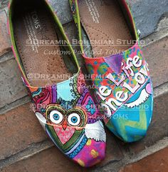 I Am Love I am Abundance Owl design hand painted custom shoes TOMS included on Etsy, $159.00