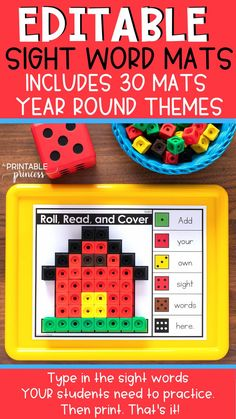 EDITABLE hands on sight word practice for Kindergarten and first grade. Type in the sight words your students need to practice. The print. That's it! Students roll the dot cube, read the sight word, and use the color code to cover a space. When all of the spaces are covered, they can link the cubes together to create the picture. (Fine motor practice too! 🙌) This editable sight word kit includes 30 YEAR ROUND themes, so you can use these sight word games any time in kindergarten or
