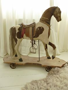 Beautiful antique rocking horse pull toy 1870 by CharmantCharmant