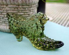 Fenton Glass Cat Shoe Slipper by AppleberryCottage on Etsy